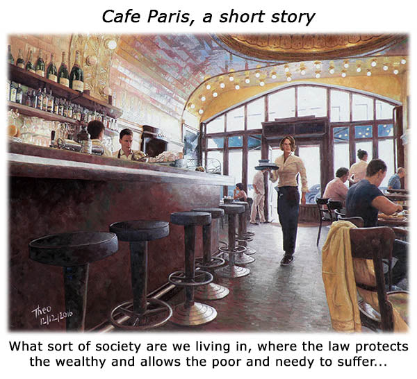 Cafe Paris an oil painting by Theo Michael with an accompanying short story