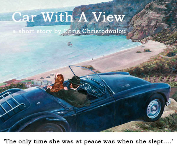 Car With A View, an original oil painting by Theo Michael, view over Kourion Bay, Limassol