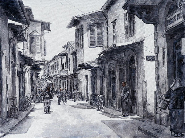 Ermou Street, a Black and White painting by Theo Michael