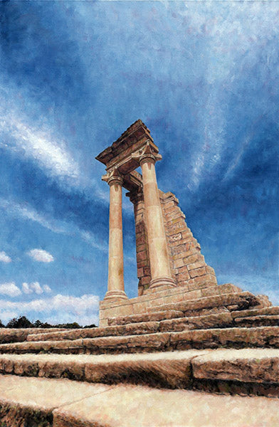 Mediterranean Cyprus landscape paintings by Theo Michael, Temple Of Apollo