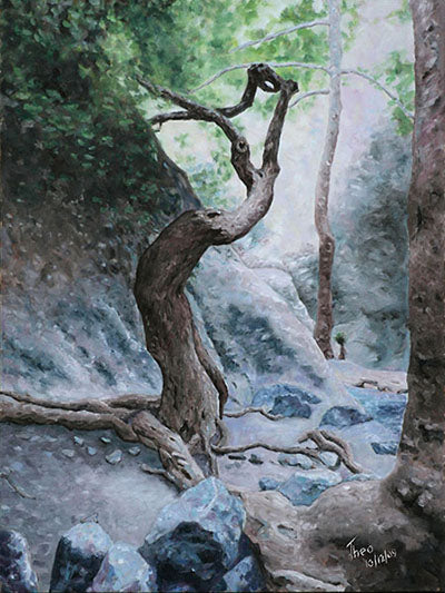 Mediterranean Cyprus landscape paintings by Theo Michael, Troodos Trail
