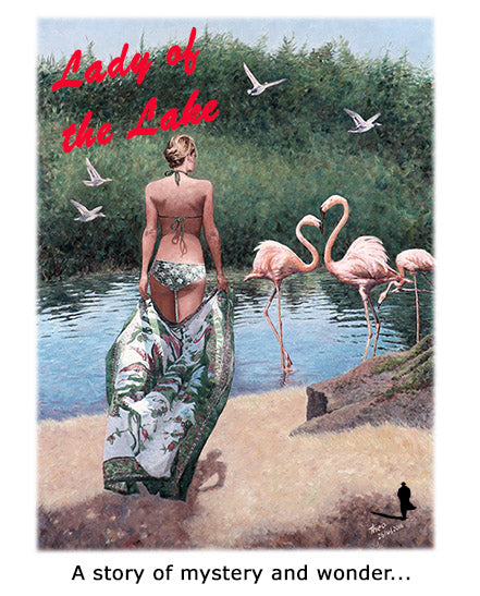 Lady of the Lake, an oil painting by Theo Michael of Larnaca flamingos