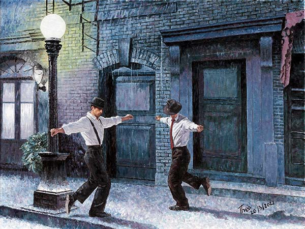 Dancing In The Rain an oil painting by Theo Michael