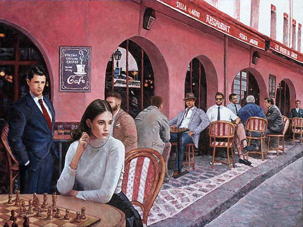 Cafe painting by Theo Michael, The Cafe