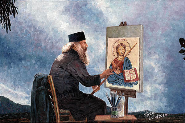 oil painting of Cyprus priest, The Icon Painter by Theo Michael
