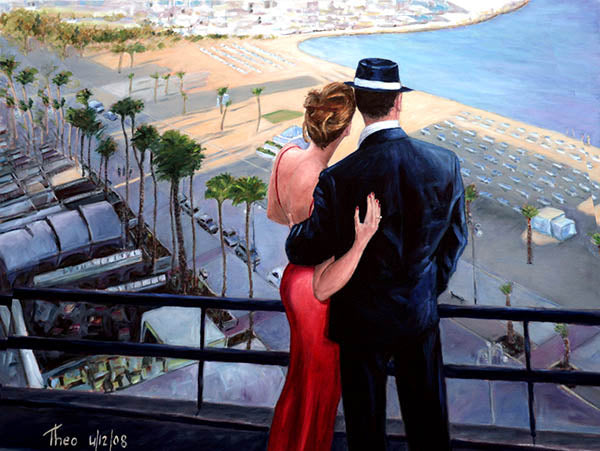 Larnaca promenade an oil painting by Theo Michael