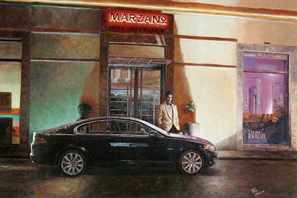 Marzano Restaurant in Larnaca, an oil painting by Theo Michael
