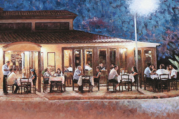 Vlachos Tavern in Larnaca, an oil painting by Theo Michael