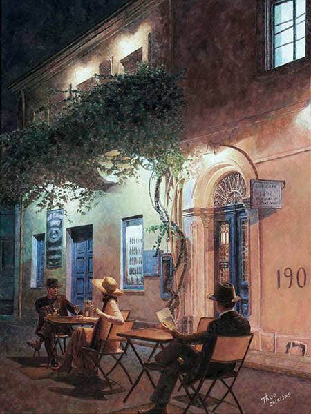 Cafe At Night, an oil painting by Theo Michael