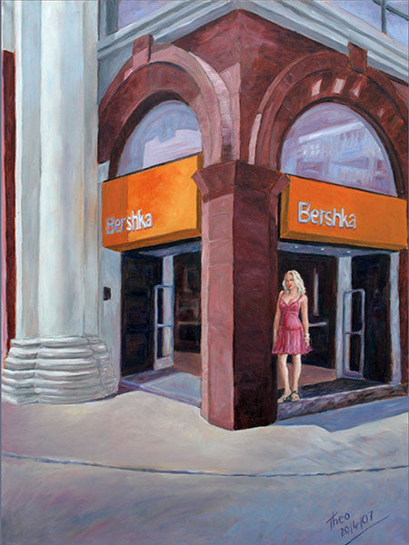 Shopping At Bershka in Larnaca, an original oil painting by the artist Theo Michael