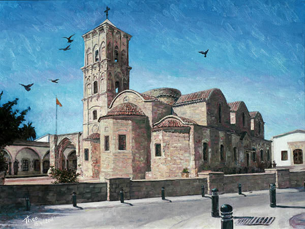 St. Lazarus Church in Larnaca Cyprus, an original oil painting by Theo Michael