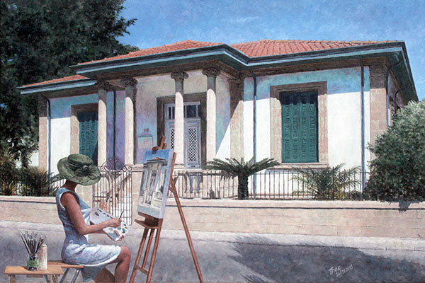 Mediterranean oil painting by Theo Michael, Artist At Her Easel