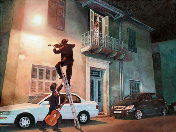 Romantic Wall Art by Theo Michael, Serenade, inspired by Carl Spitzweg