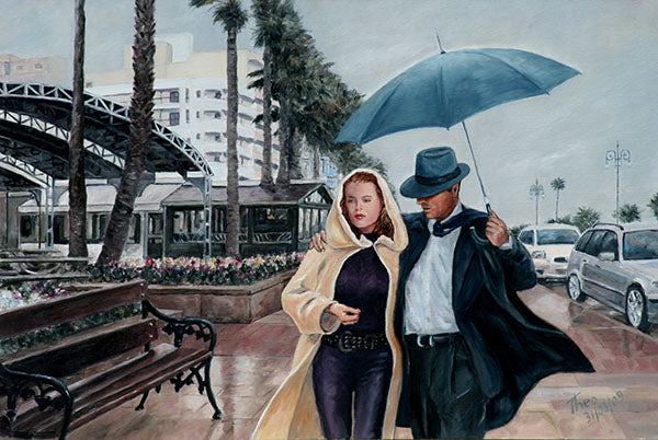 Art Noir paintings by Theo Michael, Strolling on the Promenade in Larnaca