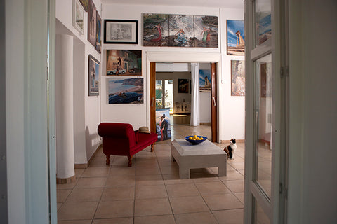 Theo Michael's art studio in Larnaca featured in the Cobalt Inflight Magazine