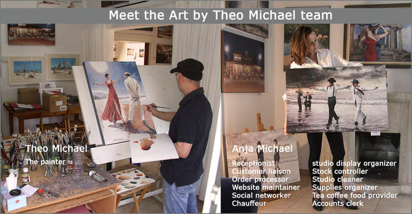 The team behind Art by Theo Michael, Theo's studio in Larnaca Cyprus