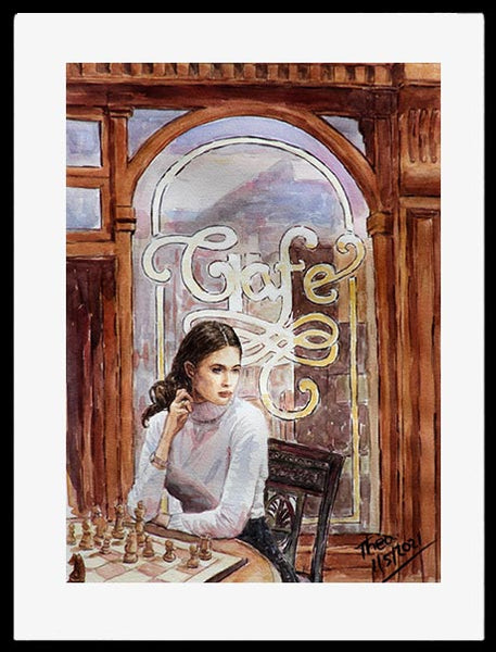 watercolour painting Girl Playing Chess At The Cafe by Theo Michael
