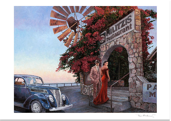 Fine Art Print by Theo Michael, Militzis Larnaca Restaurant in Cyprus