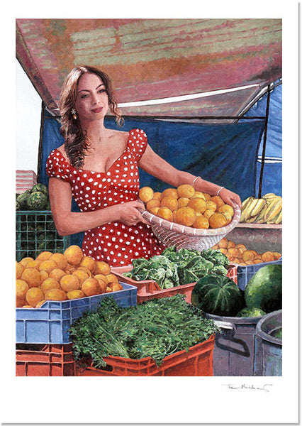 Fine Art Print, Tonia Buxtion Lady At The Market by Theo Michael