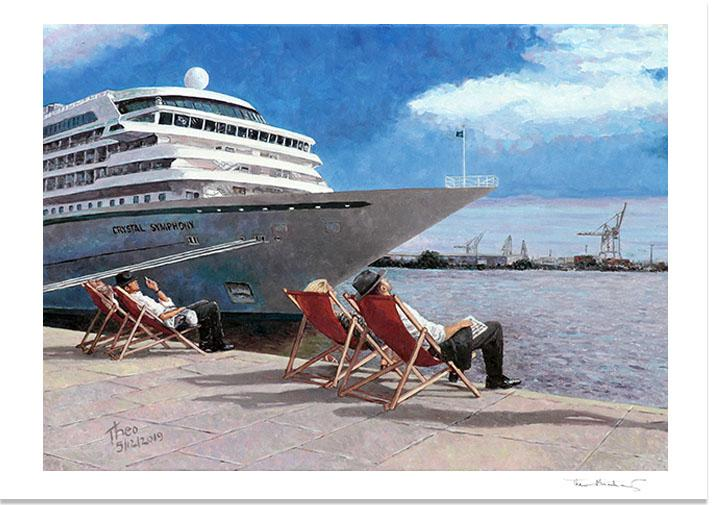 Fine Art Print, People In The Sun, featuring Hamburg Harbour in the background. Inspired by Edward Hopper