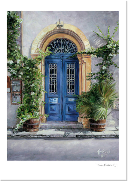 Mediterranean Fine Art Print by Theo Michael, Cyprus Blue Door Art Cafe