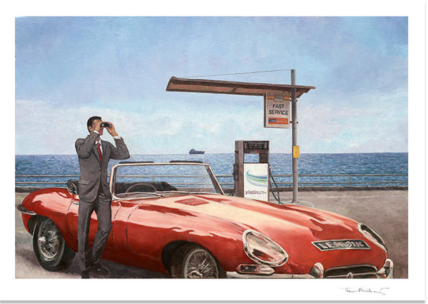 Art Noir Fine Art Print by Theo Michael, E-Type by the sea