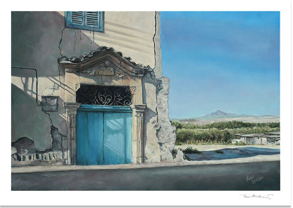 Cyprus traditions Cyprus Life, Stavrovouni a Blue Door Fine Art Print by Theo Michael