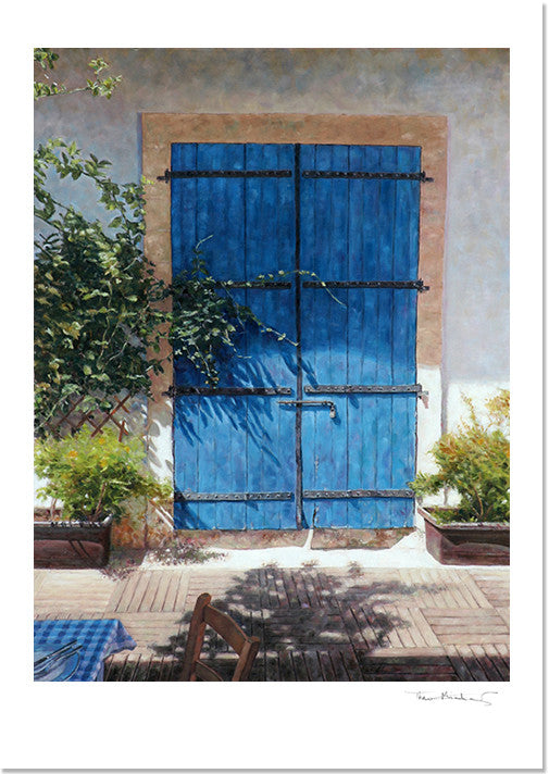 Fine Art Print, Cyprus Blue Door In Dappled Light by Theo Michael