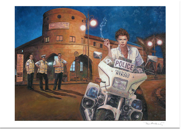 Art Noir Fine Art Print by Theo Michael, Police Station In Larnaca