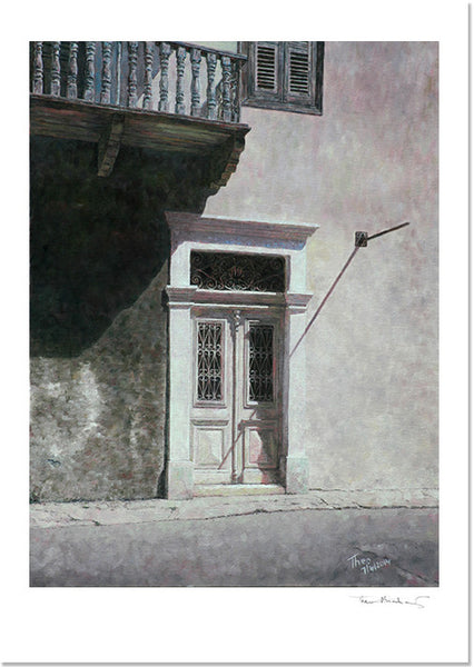 Mediterranean Fine Art Print by Theo Michael, Cyprus White Door in Larnaca