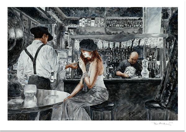 Art Noir Fine Art Print by Theo Michael, Nightlife at the Art Cafe 1900 in Larnaca