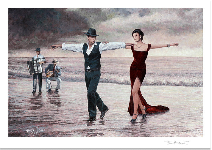 Romantic Fine Art Print, The Beach Quartet Lady In Red by Theo Michael