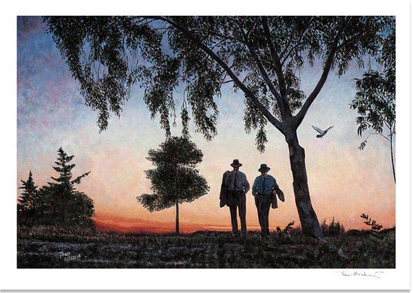 Art Noir Fine Art Print by Theo Michael, Evening Stroll ant sunset