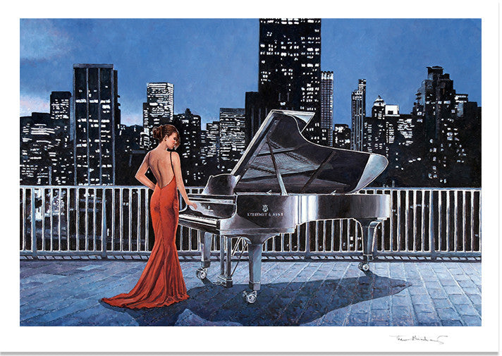 Art Noir Fine Art Print by Theo Michael, Pianist On The Roof
