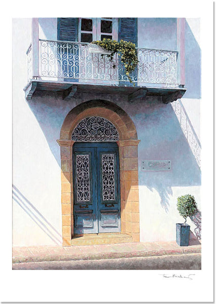 Fine Art Print by Theo Michael, Blue Door With Balcony