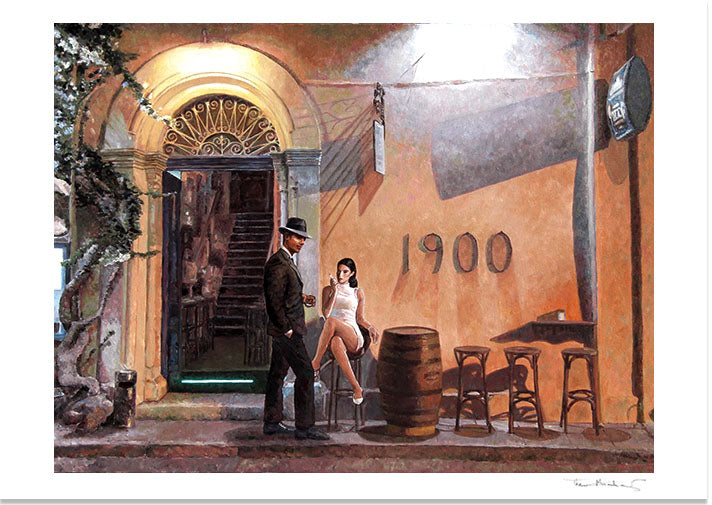 Theo Michael's oil painting Cafe At Night Revisited picturing the Art Cafe 1900 in Larnaca