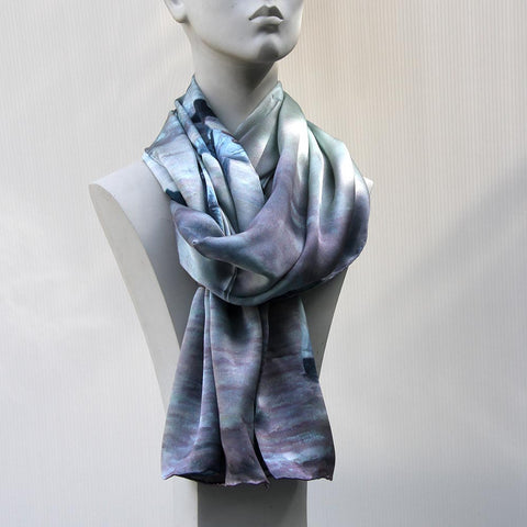 100% silk scarf with an original art design by Theo Michael, The Beach Quartet
