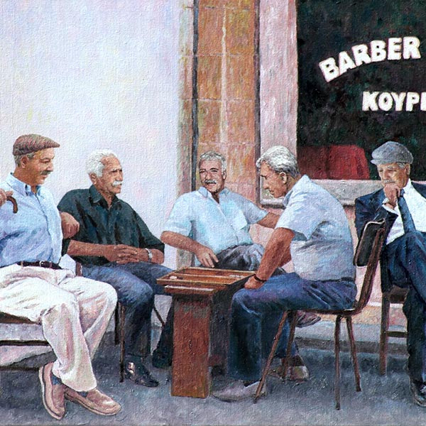 Backgammon Players, Cyprus traditions an oil pianting by Theo Michael