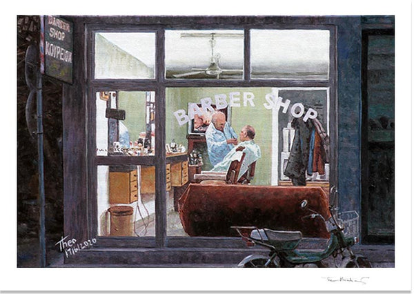 Fine Art Print by Theo Michael, Barber Shop, Cyprus traditions, Cyprus Life