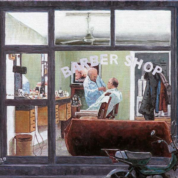 Cyprus Barber Shop painting by Theo Michael, Cyprus Traditions and Cyprus Life