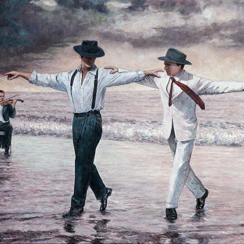 Cyprus traditions Cyprus Life, The Beach Quartet  oil painting by Theo Michael