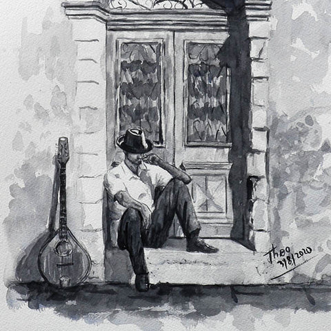 Watercolour sketch, The Bouzouki Player
