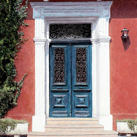Mediterranean Blue Door painting by Theo Michael in Larnaca