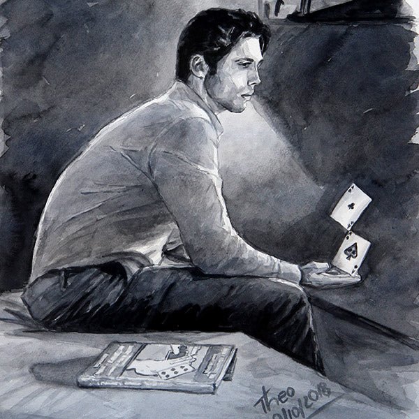 Watercolour sketch, Expert At The Card Table