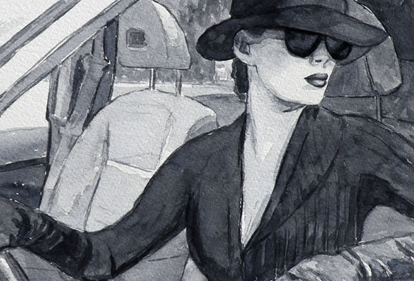 Watercolour painting by Theo Michael, detail Femme Noir