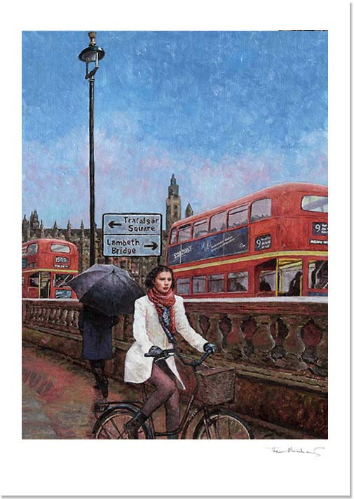 Fine art print of a london street scene with the Houses of Parliament in the background.