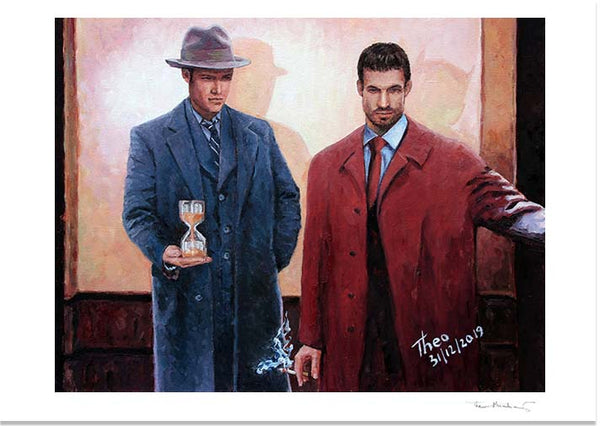 Film Noir style painting by Theo Michael, Going Down