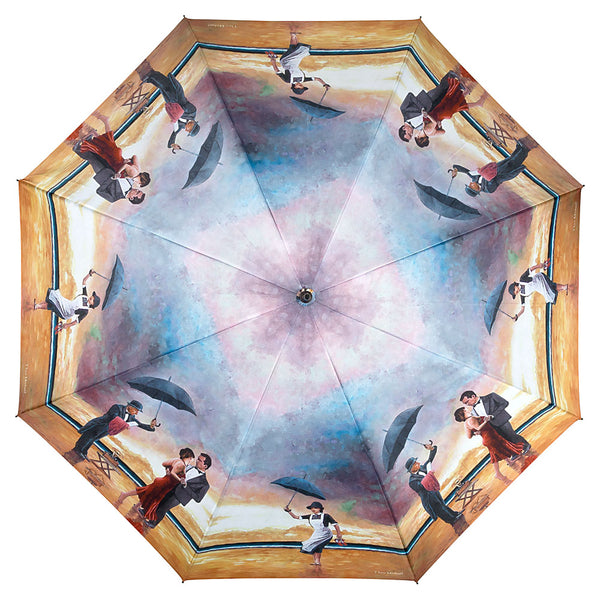 unique umbrella design of Homage to the Singing Butler, an original oil painting by Theo Michael