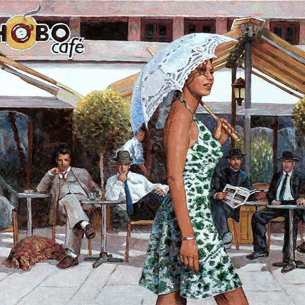 Hobo Cafe Larnaca, an oil painting by Theo Michael