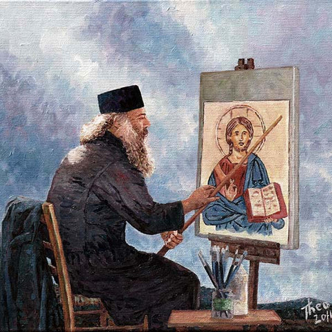 oil painting The Icon Painter, Cyprus traditions by Theo Michael